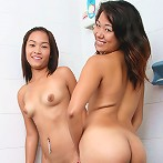 Amateur asian teens getting soaped up