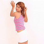 Gik Strips Pink Top And White Skirt