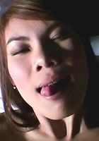 Hairy pussy amateur Thai babe Eye takes a nice big cum load in her mouth