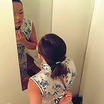 Sexy asian babe catch with a hidden cam in a changing room
