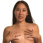 Long haired asian babe shows her nice boobs and juicy pussy