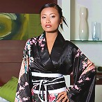 Tiny Thai Teen girl poses in Japanase robe